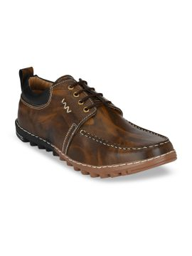 Brown Printed Derbys