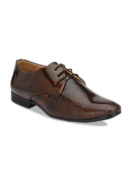 Brown Textured Formal Derbys