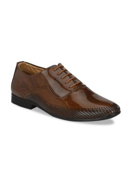 Brown Textured Leather Formal Oxfords