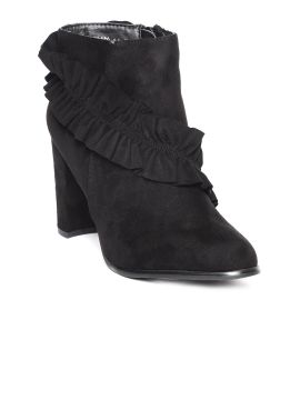 Black Solid Mid-Top Heeled Boots