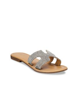 Silver-Toned Embellished Leather Open Toe Flats