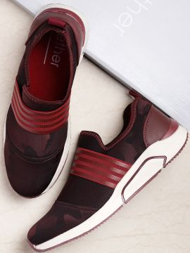 Burgundy Camouflage Patterned Slip-On Sneakers