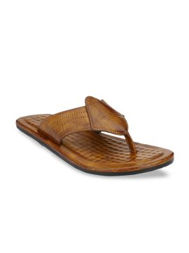 Tan Brown Solid Comfort Sandals