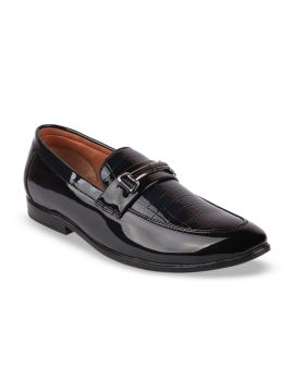 Blue Solid Horsebit Loafers