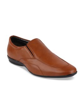 Tan-Brown Solid Formal Loafers