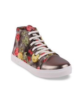 Grey  Printed Canvas Lightweight Mid-Top Sneakers