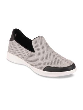 Grey Slip-On Woven Design Sneakers