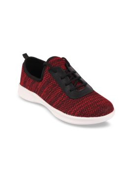 Red Woven Design Sneakers