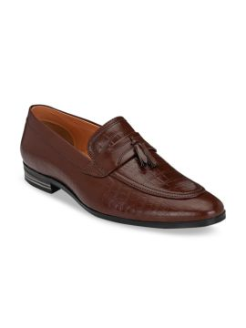 Brown Textured Leather Formal Tassel Loafers