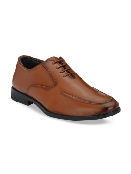 Tan Brown Solid Formal Oxfords