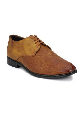 Tan Brown Synthetic Leather Formal Derby Shoes