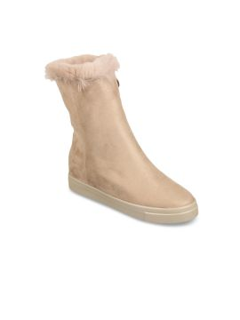 Beige Solid Suede Mid-Top Flat Boots