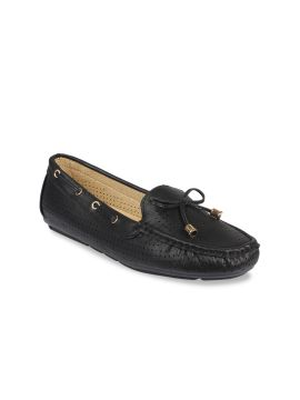Black Perforated Boat Shoes