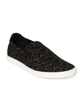 Black Printed Slip-Ons