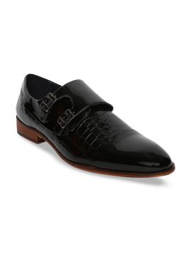 Black Textured Birch Patent Leather Formal Monks