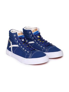 Blue Solid CALIFORNIA MID PRINT Canvas Mid-Top Sneakers