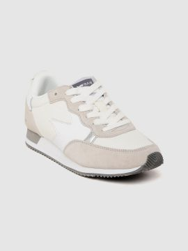 Beige & White Colourblocked Sneakers