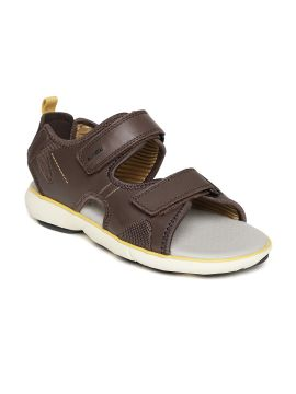 Coffee Brown Solid Leather Comfort Sandals