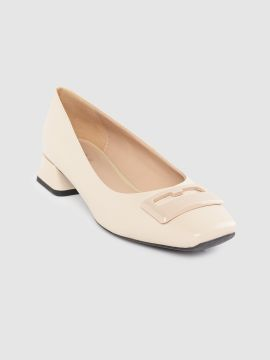 Beige Solid Leather Pumps