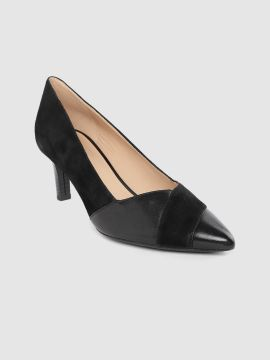 Black Solid Leather Pumps
