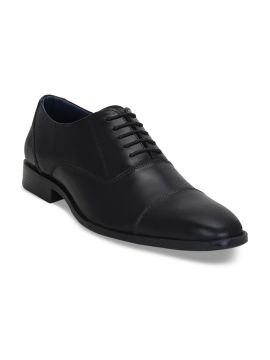 Black Solid Leather Oxfords