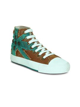 Brown & Green Colourblocked Mid-Top Sneakers