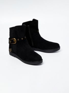 Black Solid Synthetic Mid-Top Flat Boots