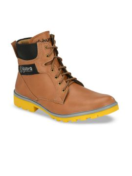 Tan Brown Colourblocked Synthetic Mid-Top Flat Boots
