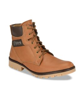 Tan Colourblocked Synthetic High-Top Flat Boots