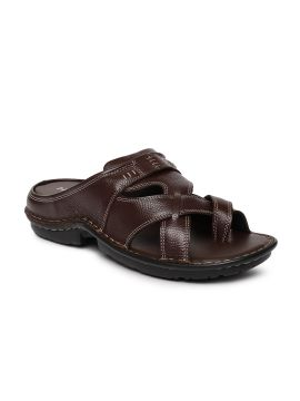 Brown Solid Leather Comfort Sandals