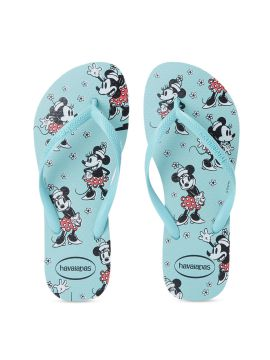 Blue & Black Mickey Mouse Printed Thong Flip-Flops
