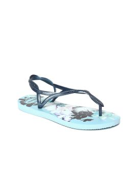 Luna Blue Printed Open Toe Flats