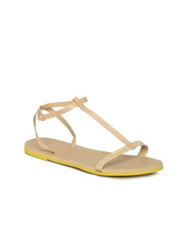You Belize Beige Solid Open Toe Flats