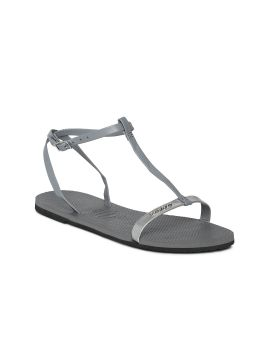 You Belize Grey Solid T-Strap Flats