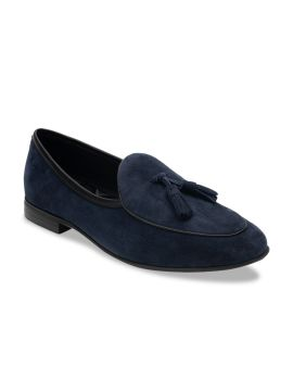 Solid Navy Blue Suede Loafers
