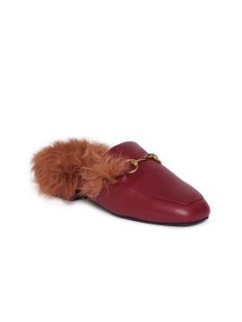 Burgundy Solid Leather Flats