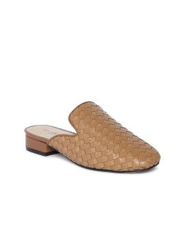Tan Woven Design Leather Mules