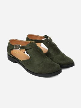 Olive Green Cushioned Cut Out Casual Shoes