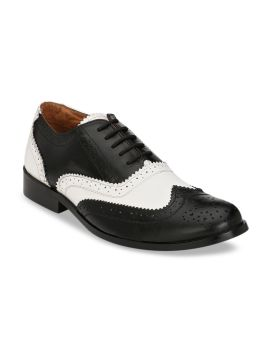 Black & White Colourblocked Geniune Leather Formal Brogues