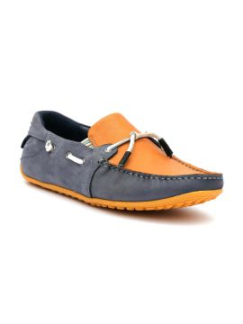 Blue & Orange Colourblocked Leather Mid-Top Leather Driving Shoes