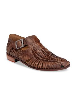 Tan Brown Solid Formal Leather Monks