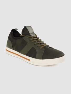 Olive Green Camouflage Printed Sneakers