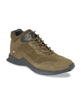 Olive Green Solid Leather Mid-Top Sneakers
