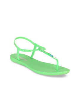 Green Printed Rubber T-Strap Flats