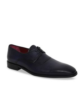 Blue Solid Leather Formal Derbys