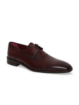 Burgundy Solid Leather Formal Derbys