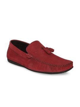 Red Solid Leather Loafers