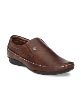 Brown Synthetic Leather Formal Slip-Ons