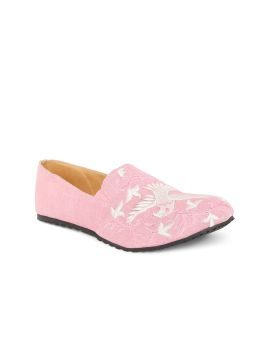 Pink Woven Design Slip-On Sneakers