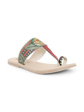 Green Printed Canvas One Toe Flats